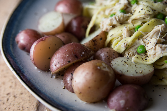 Chicken Noodles with New Potatoes